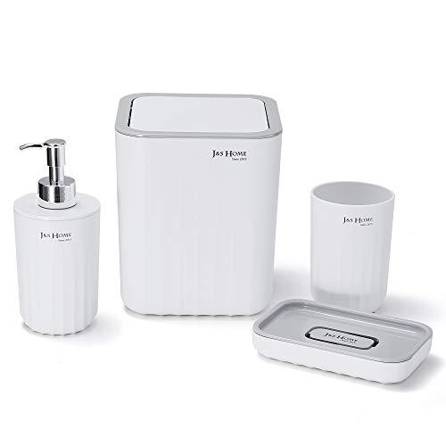 TRUSTLIFE Modernes Design 4 Teiliges Badezimmerzubehörset für Zuhause und Hotel, Einschließlich Zahnbürstenbecher, Seifenschale, Mülleimer, Lotionspender