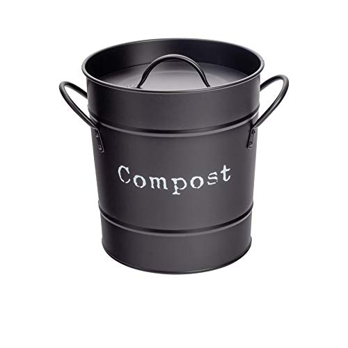 Harbour Housewares Industrie Compost Bin - Vintage Style Stahl Küche Storage Bucket - Removable Inner - Schwarz