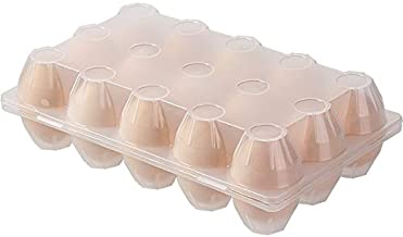 CHAHANG Plastic Egg Holder for Refrigerator 15 Tray Container with Cover Kitchen Storage Box Dispenser Transparent Refrige...