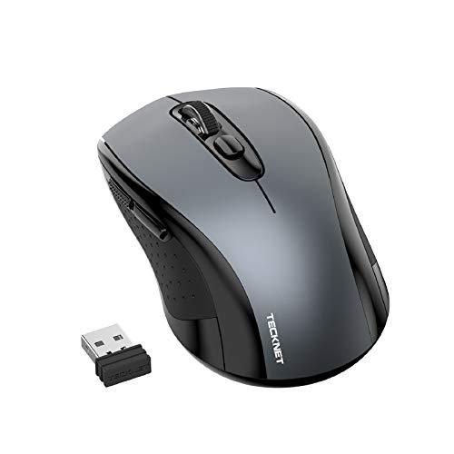 TECKNET Mouse Senza Fili, Mouse Portatile USB da 2,4 GHz con Ricevitore Nano, 6 Pulsanti con Interruttori DPI a 3 Livelli Mouse Intelligente per Il Risparmio Energetico per l Home Office (Grigio)