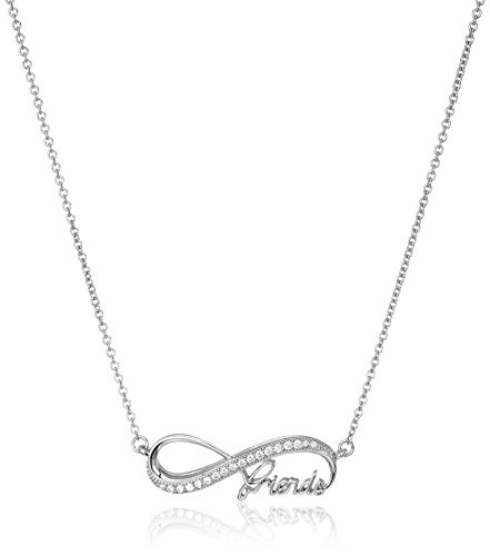 925 Sterling Silver and AAA Cubic Zirconia Infinity Friends Necklace, 18""