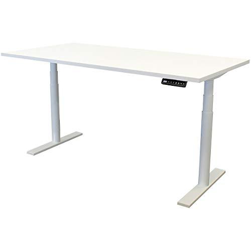 newpo elektrisch höhenverstellbarer Schreibtisch mit Tischplatte | BxT 160 x 80 cm | weiß | Stehtisch Bürotisch Tisch-Gestell