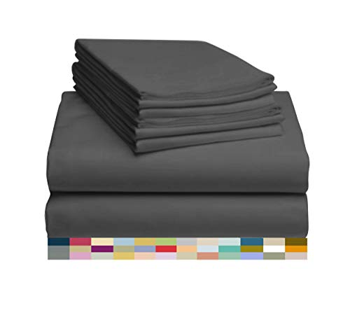 LuxClub 6 PC Sheet Set Bamboo Sheets Deep Pockets 18' Eco Friendly Wrinkle Free Machine Washable Hotel Bedding Silky Soft - Dark Grey Queen