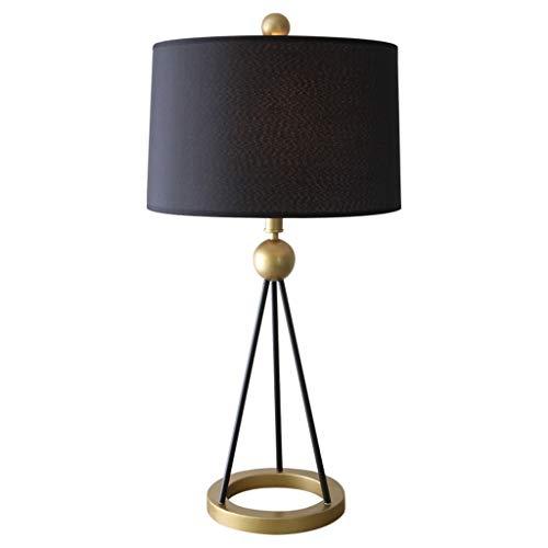 Lampada Da Tavolo Lampade da tavolo moderne cono paralume in tessuto nero in metallo for soggiorno camera da letto familiare Lampada Da Comodino (Color : Black)