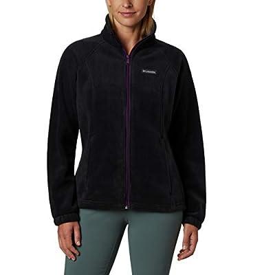 Columbia Women's Benton Springs Full Zip Jacket, Soft Fleece with Classic Fit, Black/Wild iris, Petite Large