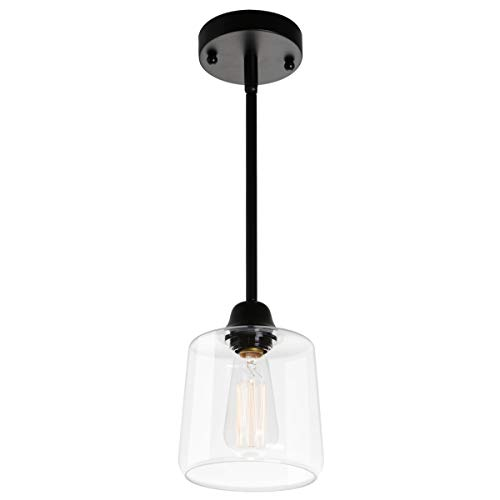 VILUXY Vintage Glass Pendant Light, Single Hanging Pendant Lighting, Black with Clear Glass Shade Classic for Farmhouse, Entryway, Dining Room, Kitchen Island, Foyer