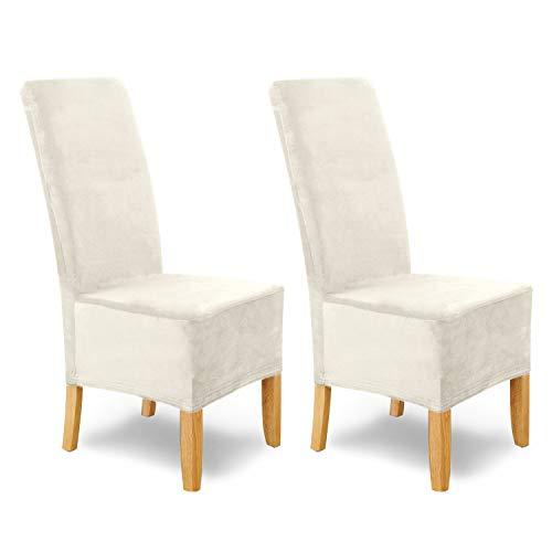 SCHEFFLER-Home Stretch Stuhlhusse Puma Velvet, 2er Set elastische Velour Stuhlabdeckungen, Stuhlhussen Schwingstühle, Spannbezug mit Gummiband, Elegante Chenille Stuhlbezüge