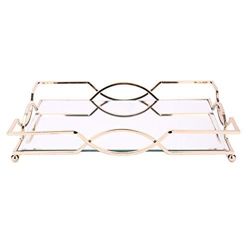 Parfüm-Kerzenhalter-Tablett Spiegel Tray Dessert Tisch Tortenständer Dekorative Tray Schmuck-Anzeigen-Behälter-Art-Kosmetik Schmuckkasten Organizer Serviertablett ( Color : Gold , Size : 45.5x31x6cm )