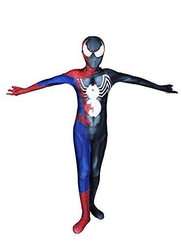 Venom Cosplay Costume Half Raimi Half Symbiote Halloween Lycra Spandex Unisex Suit, Kid 140