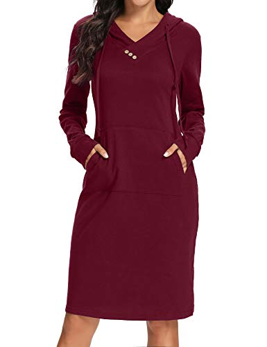 Kimmery Mid Length Dresses,Juniors A Line String Sweatshirt with Pockets V Neck Long Sleeve Fashion Mini Hoodie Dress Soft Cotton Blend T Shirt Casual Pullover for Church School Dating Wine X Large