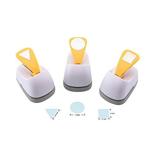 craft lever punch diy handmade Craft punch paper punch for festival and greeting card making ten shapes choices (white 0.7X0.7inch square-1inch Circle-0.75inch triangle)