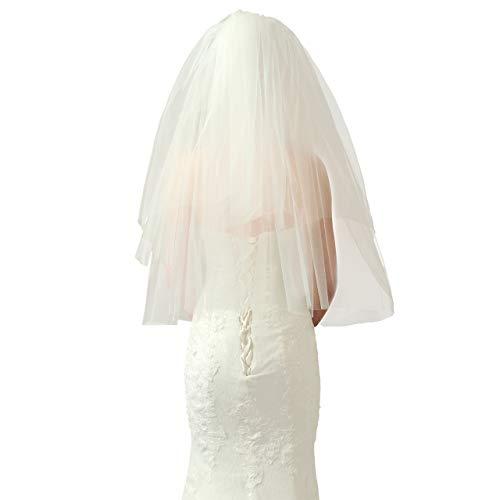 CHIC DIARY Brautschleier Beige Hochzeitskleid Schleier mit Kamm Doppelte Schichte Kurz für Hochzeit JGA Halloweenkostüm