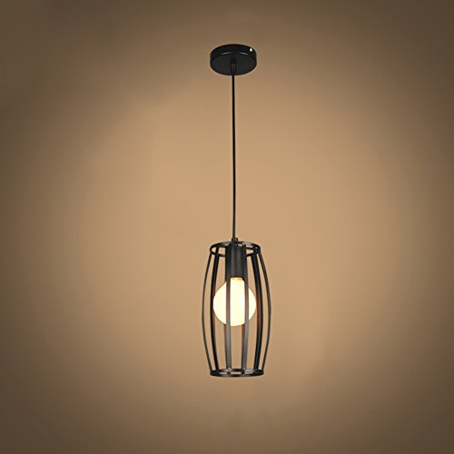 E27 Support de Lumière Suspendue en fer Cylindrique Porte-pendentif en Métal de Style Simple Porte-lampe Industrielle Vintage Style Hanging Light Cage