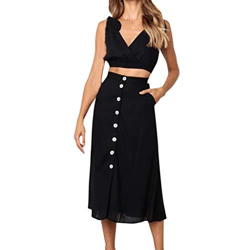 QUNLIANYI Jurken voor Vrouwen Plus Size Women'S Suits Effen Kleur Kant Off-Shoulder pyjama Tops Blouse Effen Kleur Knop Rok Vest Twee Stuk Set
