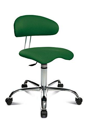 Topstar Sitness 40, Fitnesshocker, Arbeitshocker, Rollhocker mit Rückenunterstützung, 3-Dimensional bewegliche Sitzfläche, Stoffbezug Grün