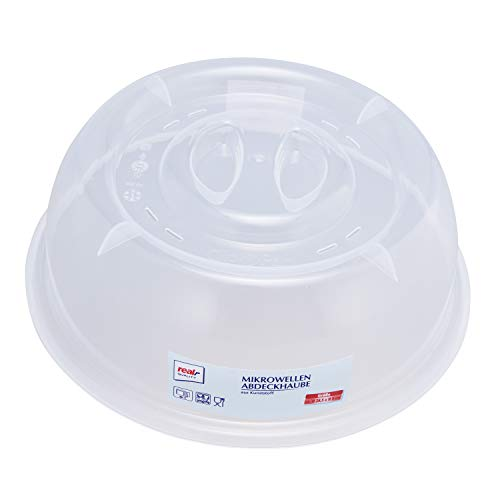 Real,-Quality Mikrowellenabdeckhaube | Kunststoff | Ø ca. 28,5 x H 9 cm | spülmaschinengeeignet | Mikrowellenabdeckung | Mikrowellenhaube | Mikrowellendeckel