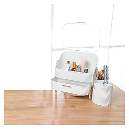 GYY Maquillaje Organizador Caja 3 Capas Portátiles Lápices Labiales Máscara Estuche De Almacenamiento De Joyería Portátil Impermeable Amplio Capacidad Cajón Cosmético (Color : White Box Case Set)