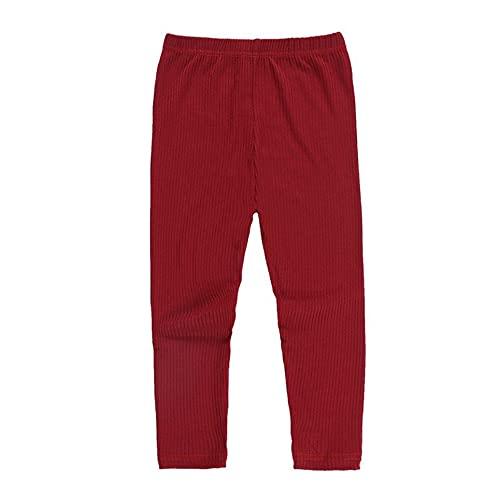 Pantalones de otoño e Invierno Keep Warm Girl Pantalones elásticos de Punto Leggings, Rojo, 90