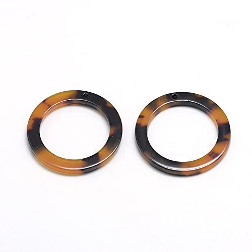 PandaHall 10pcs Resin Ring Mottled Hoop Earrings 34.5x34.5x2.5mm Geometric Acrylic Resin Earrings Dangle Pendants with Hole for DIY Earring Making