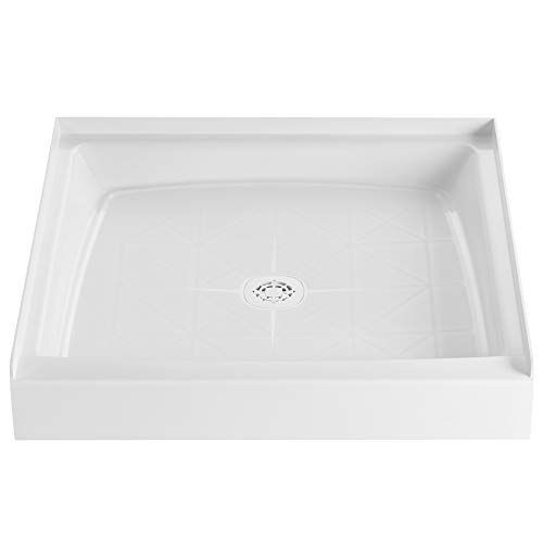 PROFLO PFSB3232WH PROFLO PFSB3232 32' x 32' Single Curb Slip Resistant Shower Pan for Alcove Installations (Strainer Included)