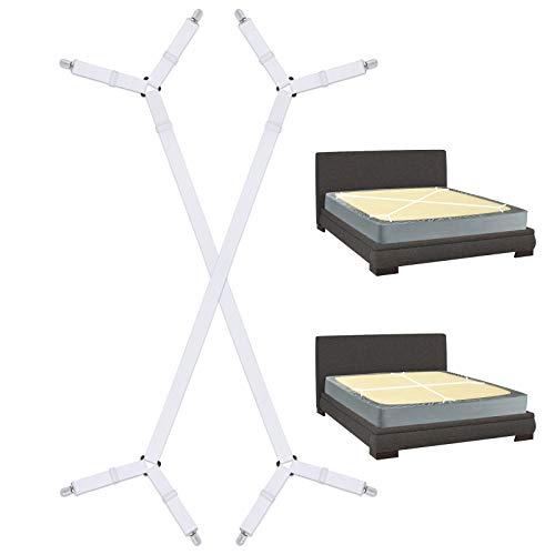 Sopito Bettlakenbefestigungen, 2 Stück verstellbare Lange Bettlakenhalter Schwerlast Bettlakenclips Greifer für alle quadratischen Matratzen, weiß