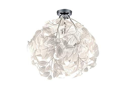Reality Leuchten Ausgefallene LED Deckenleuchte Lampenschirm Ø38cm weiß Blätterkleid in Feder Optik