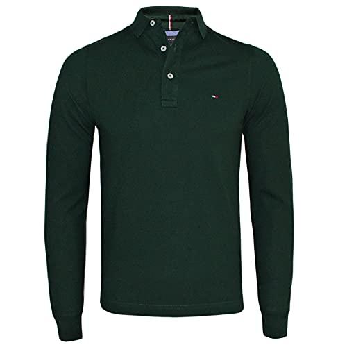 Tommy Hilfiger Herren Poloshirt aus reiner Baumwolle, langärmelig, schmale Passform, S-XXL Gr. XXL, Pine Grove (Dunkelgrün)