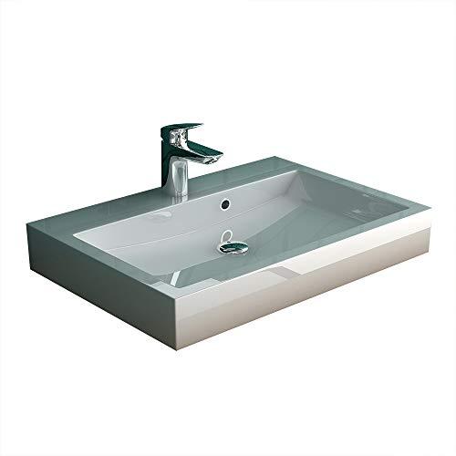 Alpenberger Waschbecken aus hochwertiger Keramik 60 cm Breite | Handwaschbecken mit Überlaufschutz | Gäste-WC | Waschtisch zur Wandmontage