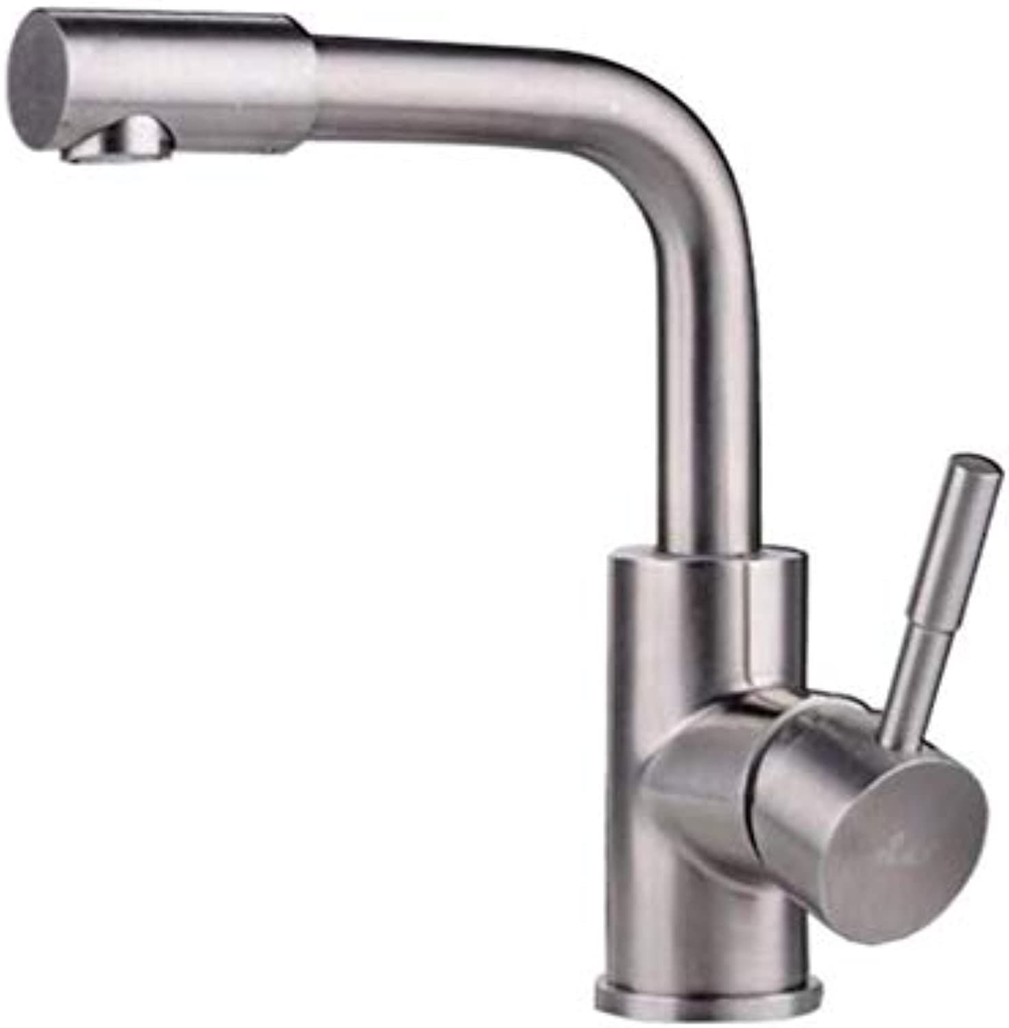 Taps Kitchen Sinktaps Mixer Swivel Faucet Sink 304 Drawn Stainless Steel Single Hole Cold