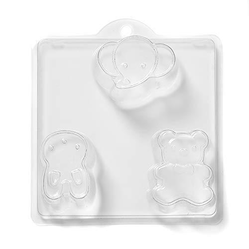 Wereld van de vormen 3-cavity teddy/haas en olifant zeep/Bath bomb vorm pvc, 25,5 x 24 x 4 cm