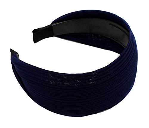 Femme Lady le Large Tissu doux Maquillage de douche élastique Bandeau Cheveux Bandeau élastique Head Wrap Accessoires Cheveux (Bleu foncé)