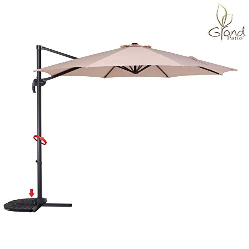 Grand patio Enhanced 10 FT Aluminum Offset Umbrella, UV Protected Patio Cantilever Umbrella with Tilt and 360° Rotation, Champagne