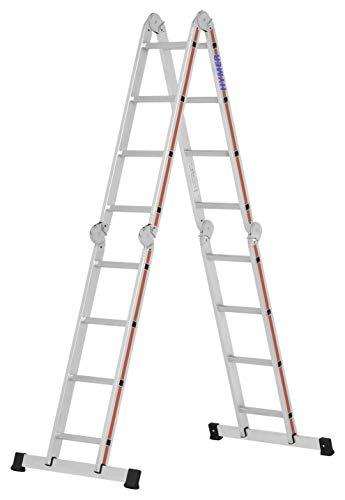 Hymer Vielzweckleiter 4x4 Stufen (max. Höhe 3,6 Meter als Anlegeleiter, Stehleiter, zusammenklappbar) 404316