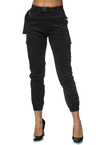 Elara Damen Cargo Hose Slim Fit Denim Chunkyrayan 3D600 Black 36 (S)