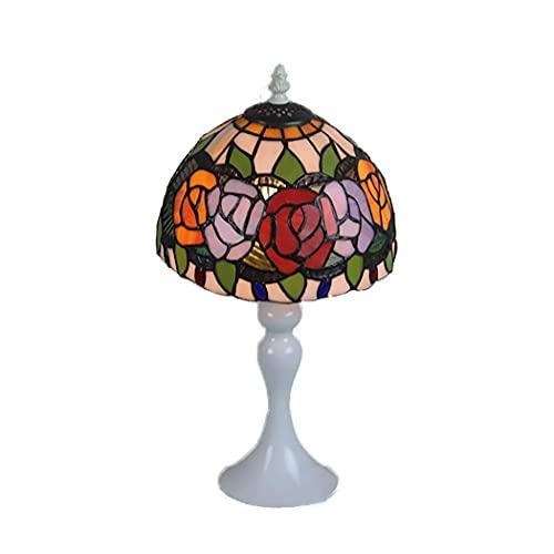 Lámpara de escritorio 8 lámpara de mesita de noche, lámpara de dormitorio con pantalla de vidrio tintado, lámpara de mesita de noche retro, sala de estar con base de resina, habitación de niños E27,