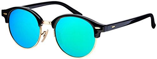 Sonnenbrille Halbrahmen La Optica UV 400 Unisex Damen Herren Gold Rund Round - Vintage Retro Schwarz Gold (Gläser: Grün verspiegelt)