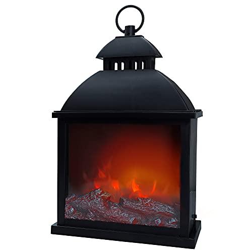 Aktive 35975 - Chimenea decorativa LED, efecto chimenea, efecto llamas, lámpara chimenea, 25x15x43 cm, Chimenea pilas, funciona con 3 pilas L/CR14 , Ambients
