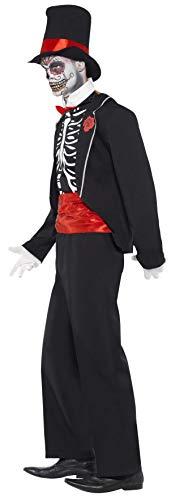 SMIFFYS Smiffy's, Nero, Costume Giorno dei Morti, comprende Giacca, Finta Mezza Camicia, Cappello per Adulti, 21565L