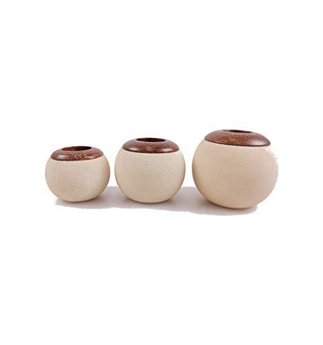 3 kandelaars van hout en steen, modern design.