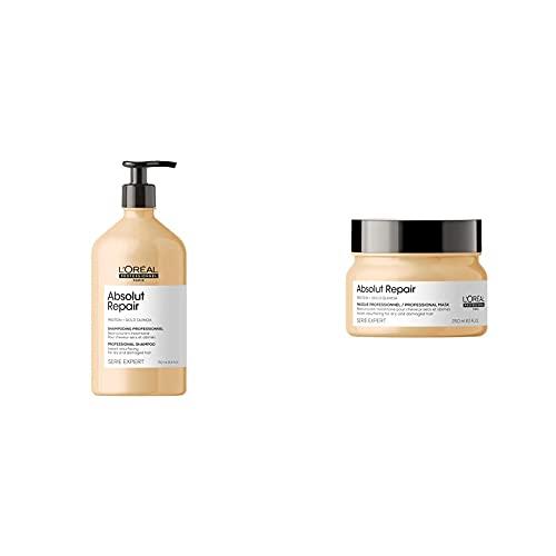 L'Oréal Professionnel | Champú Reparador y fortalecedor para cabellos secos y dañados, 750mL + Mascarilla Reconstructora para regenerar cabellos secos y dañados, Absolut Repair, SERIE EXPERT, 250ml