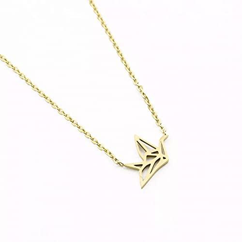 Collar con colgante de mujer Collares de moda mujer colgantes de pájaros minimalistas collar de acero inoxidable joyería de grúa de Origami Regalos para esposas madres y novias regalo de cumpleaños