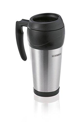 Leifheit Kaffeebecher to go 0, 5L, Thermobecher mit Henkel für heiße und kalte Getränke, Isolierbecher aus hochwertigem Edelstahl, Trinkbecher für unterwegs, travel mug, Edelstahlbecher, silber