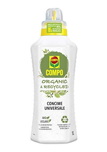 Compo ORGANIC & RECYCLED Concime Liquido Universale, con Tappo Graduato e Salvagoccia, Consentito in Agricoltura Biologica, Vegano, 1 litro