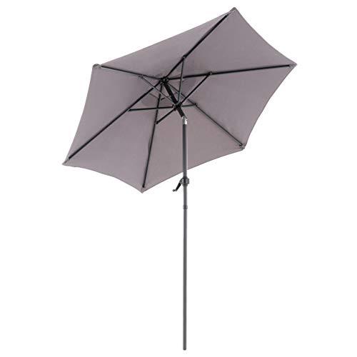Nexos Sonnenschirm Ø 2m grau Stahl 6 Rippen Gestell UV Schutz UPF 50+ Gartenschirm Marktschirm mit Kurbel knickbar Schirmstoff Polyester anthrazit