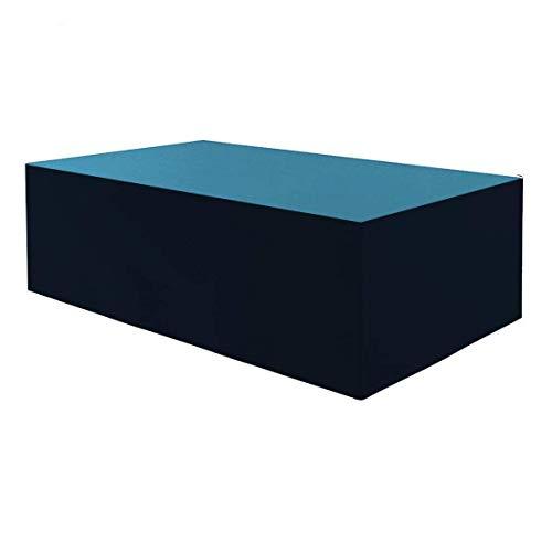 Planesium Premium - Funda protectora para mesa de jardín (575 g/metro lineal, 180 x 100 x 75 cm), color turquesa y negro
