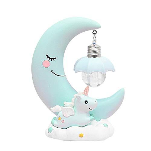 takestop® Led-nachtlampje met eenhoorn, keramiek, decoratie voor meisjes, Lichtblauw.