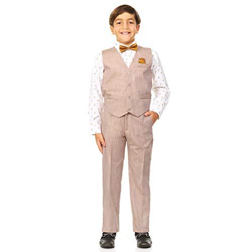 Vittorino Boy's Linen Look 4 Piece Suit Set with Vest Pants Shirt and Tie, Tan/White Banana Print, 3T