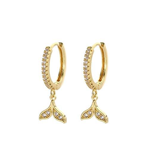 QIN Fashion cubic zircon fish tail earrings gold cute animal tail hoop earrings women