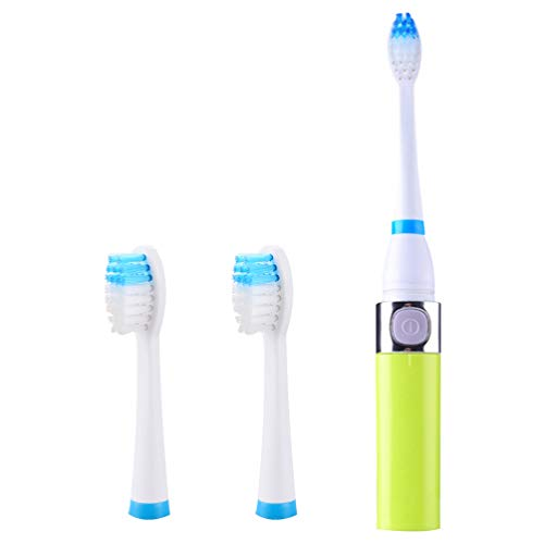 Artibetter Elektrische Tandenborstel Batterij-Aangedreven Sonische Tandenborstel Waterdicht Stille Zachte Opzetborstel Voor Volwassenen Kind (Lichtgroene 3 Opzetborstel Zonder Batterij)