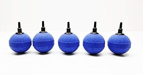AquaOne Aquarium Luftausströmer Kugel Größe 5cm Sauerstoffstein Sprudler 5 STK Luftschlauch Sauerstoffstein blau